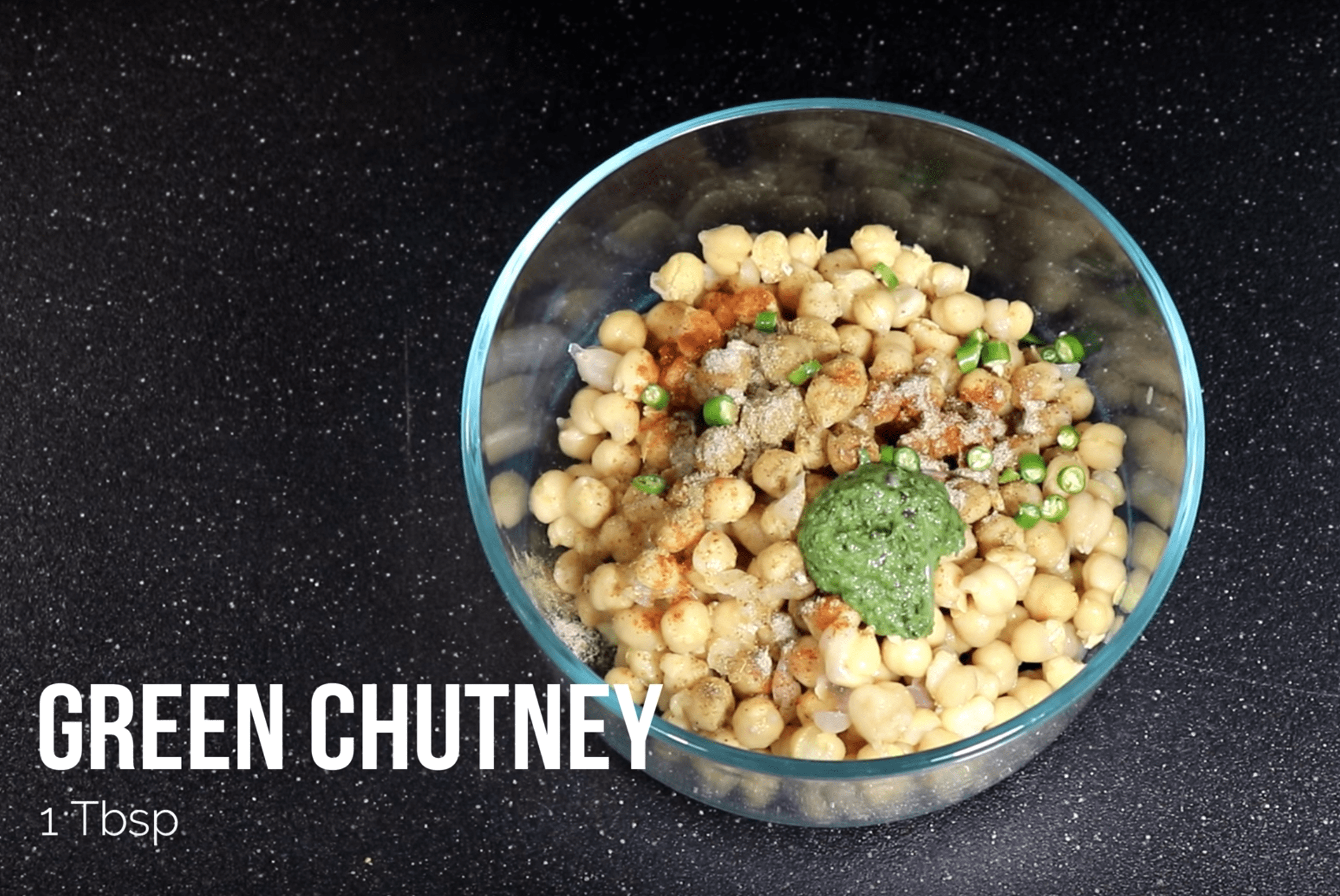 Add 1 TBSP Green Chutney in the mixture for Chana Chaat