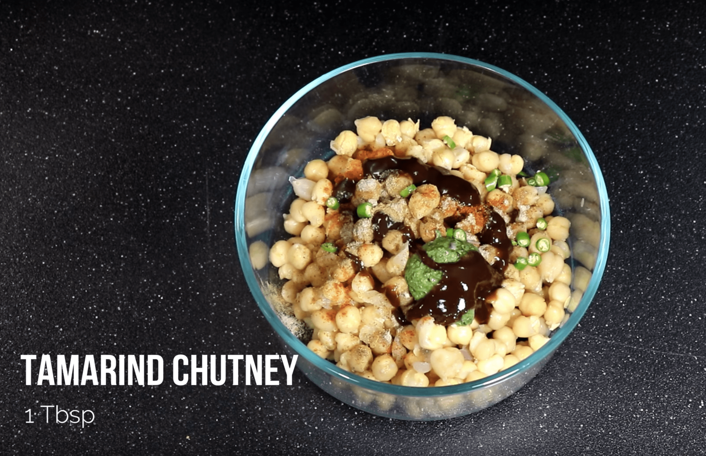 Add 1 TBSP Tamarind Chutney for Chana Chaat Chickpea Recipe