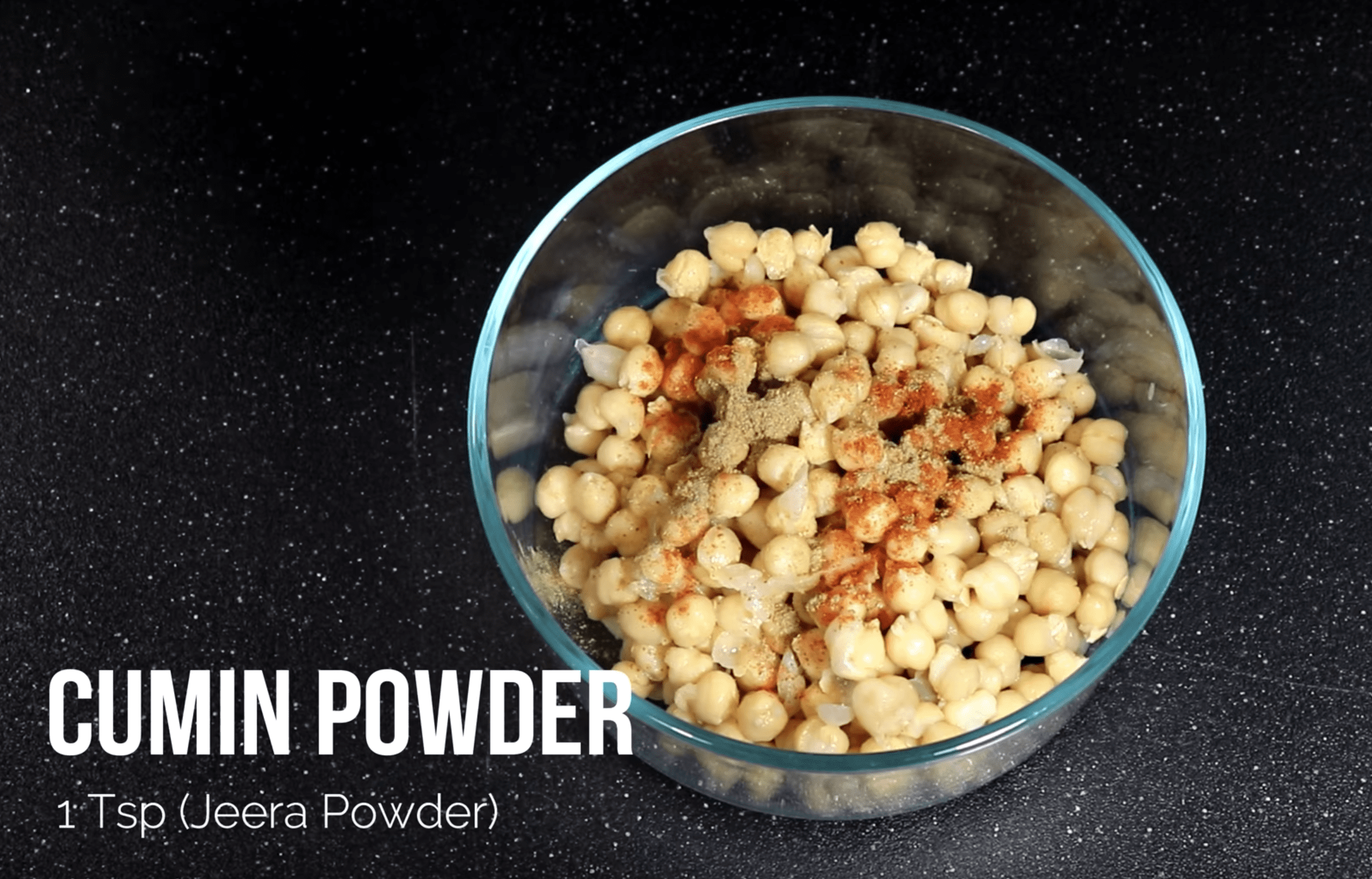 1 TSP Cumin Powder in the mixture for chana chaat chickpea recipe