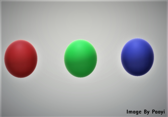 3 Balls of three colors:red, green, blue