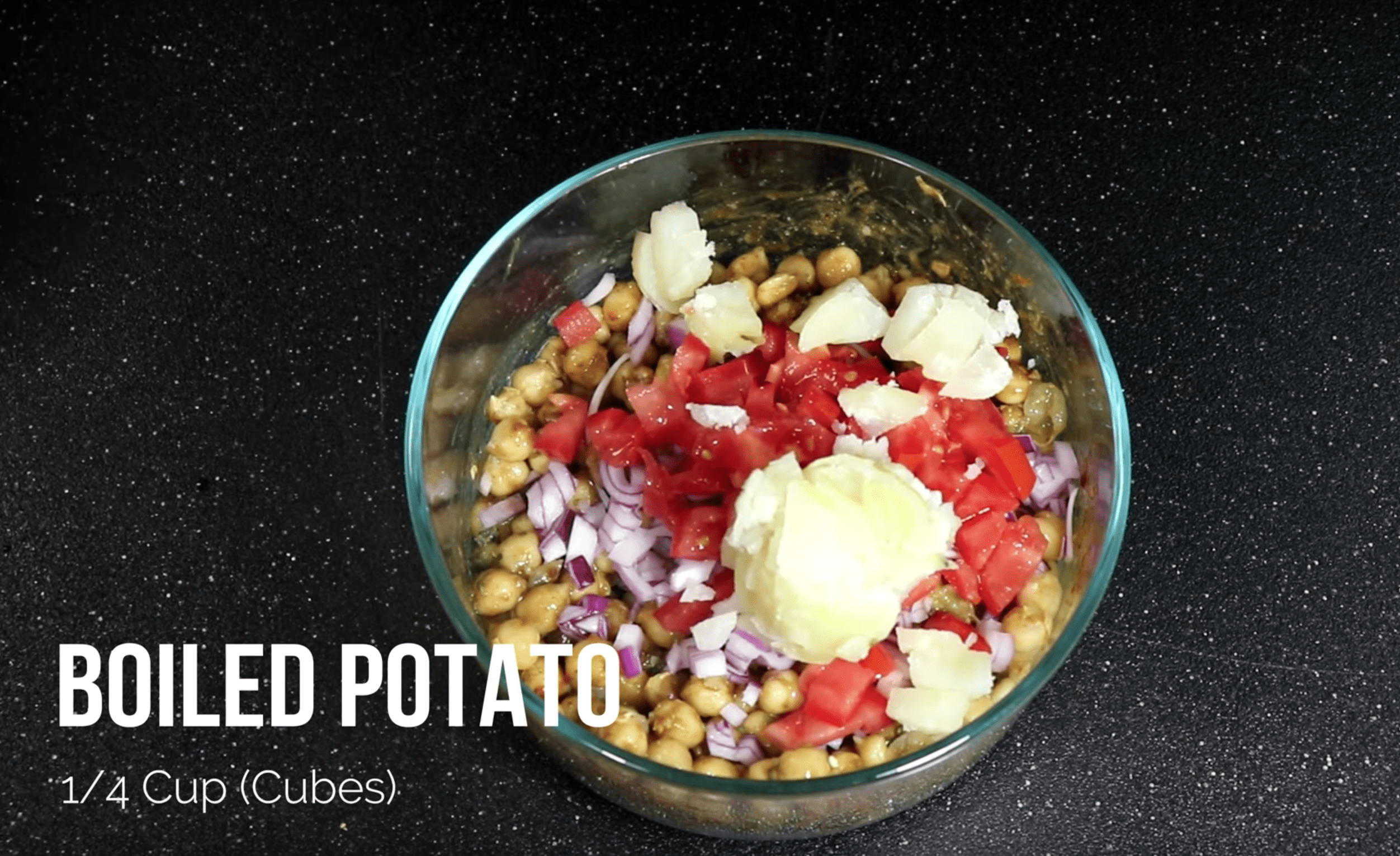 Add 1/4th Cup of Boiled Potatoes for Chana Chaat Chickpea Recipe