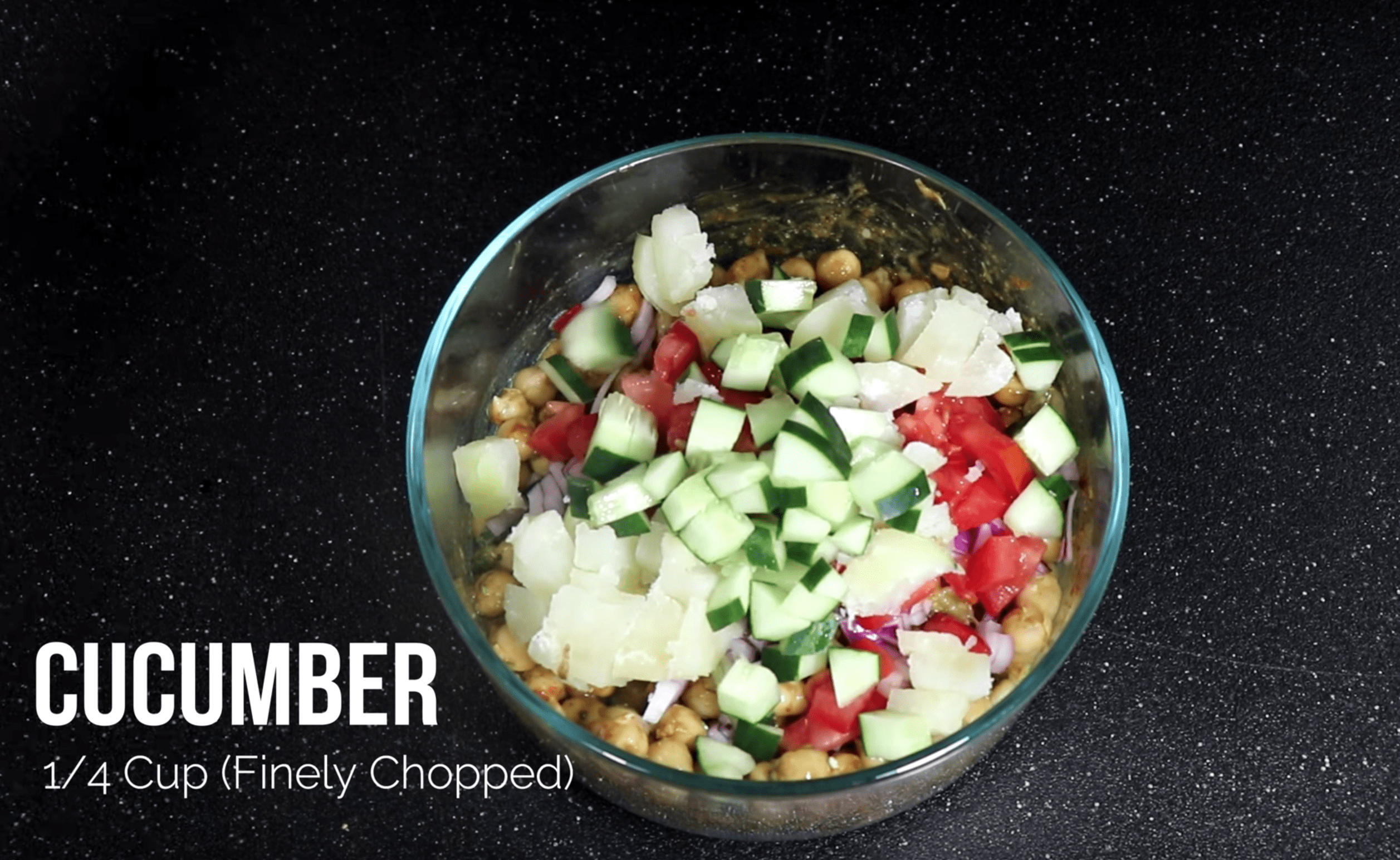 Add 1/4th Cup of Finely Chopped Cucumber for Chana Chaat Chickpea Recipe