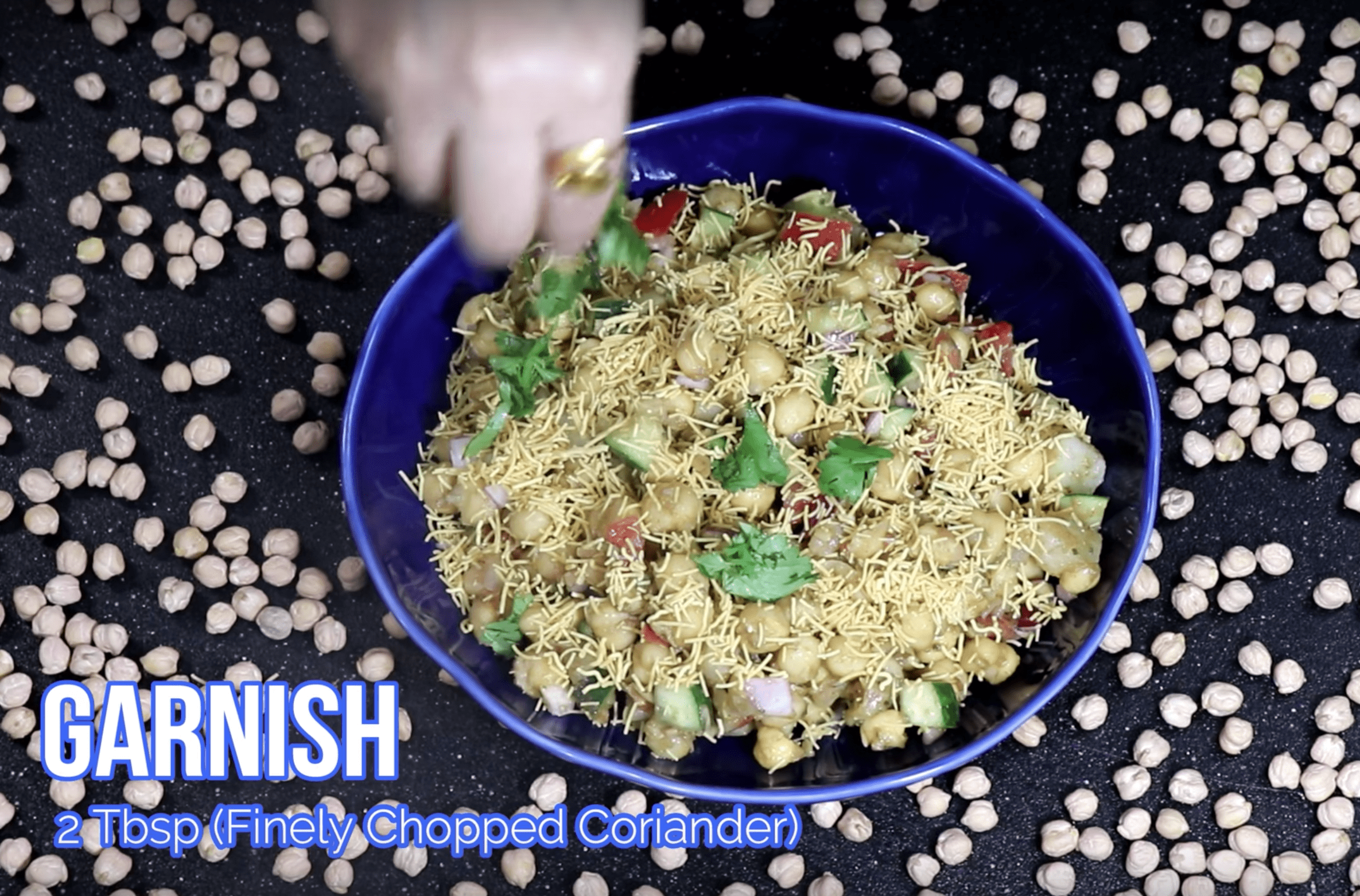 Garnish with 2 TBSP finely chopped on your Chana Chaat Recipe