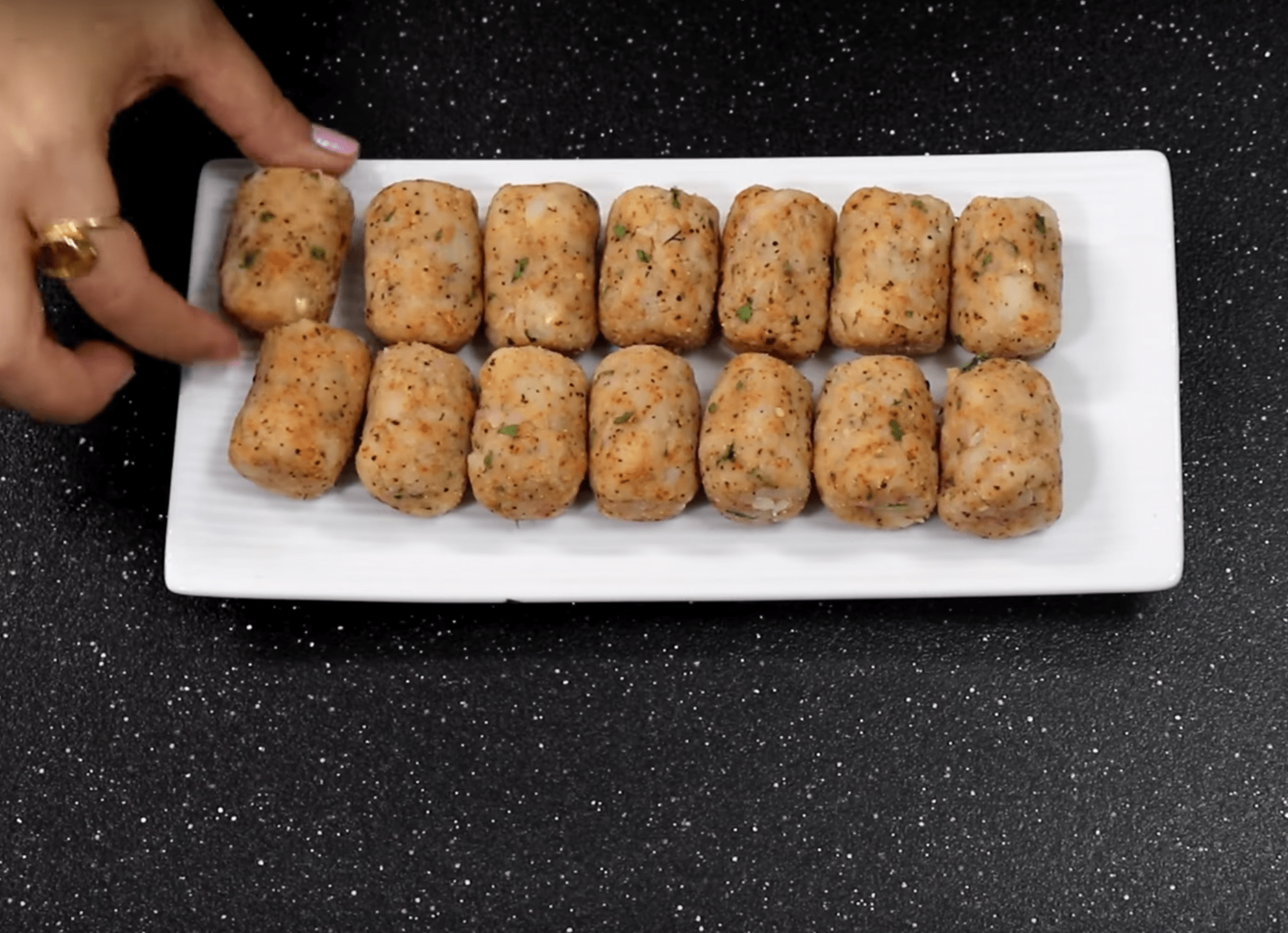 Make 12 to 15 tots before frying