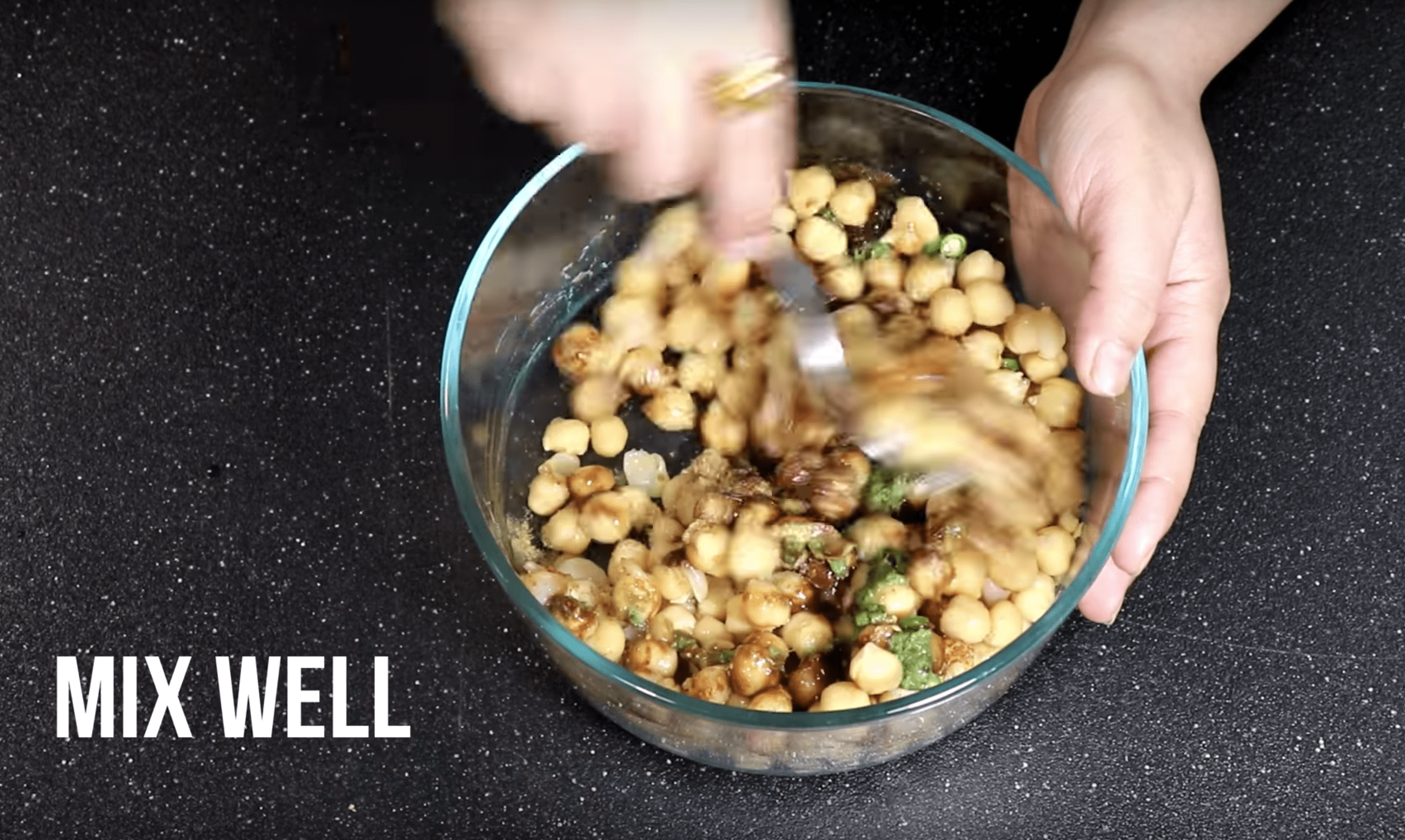 Now Mix Well your Chana Chaat Chickpea Recipe
