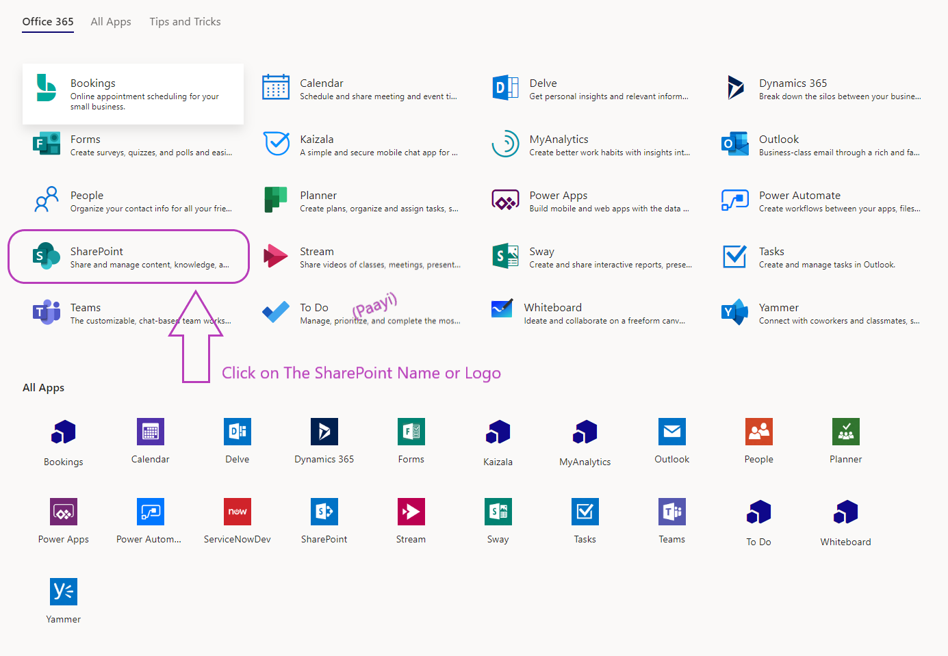 click on sharepoint Online