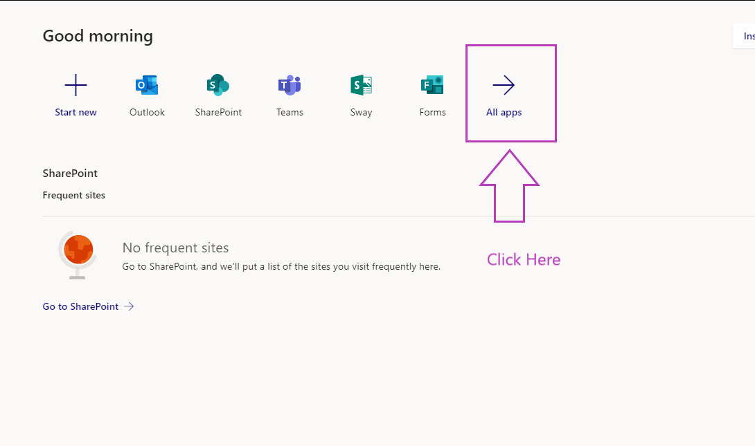Home page of Office 365